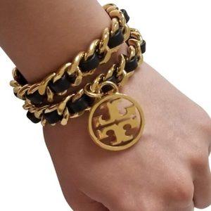 Tory Burch Metallic Double Chain Wrap Bracelet
